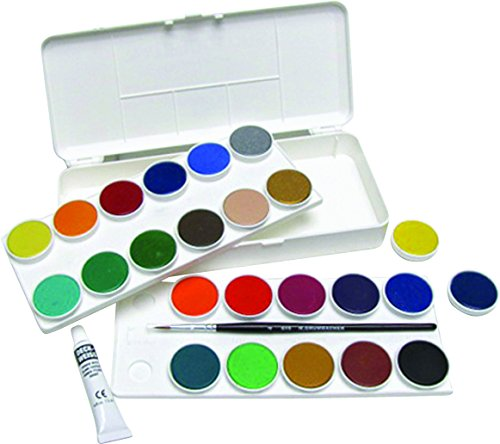 Grumbacher Opaque Watercolor Set, 24 Colors & Brush