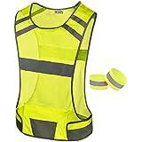 247 Viz Reflective Running Vest Gear   STAY VISIBLE & SAFE   Ultra Light & Comfortable Motorcycle Reflective Vest   Large Pocket & Adjustable Waist   Safety Vest   FREE Bands (Yellow, Child)