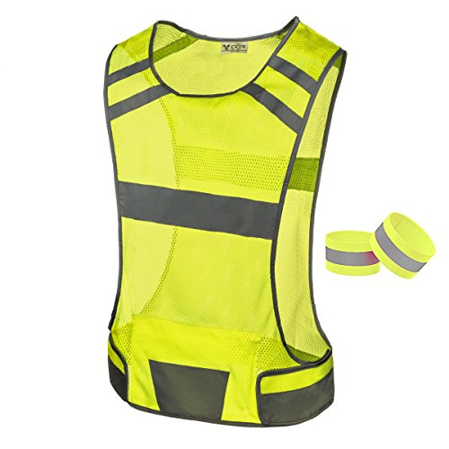 247 Viz Reflective Running Vest Gear - Stay Visible & Safe - Ultra Light & Comfortable Motorcycle Reflective Vest - Large Pocket & Adjustable Waist, Safety Vest, with Bands (Yellow, ()