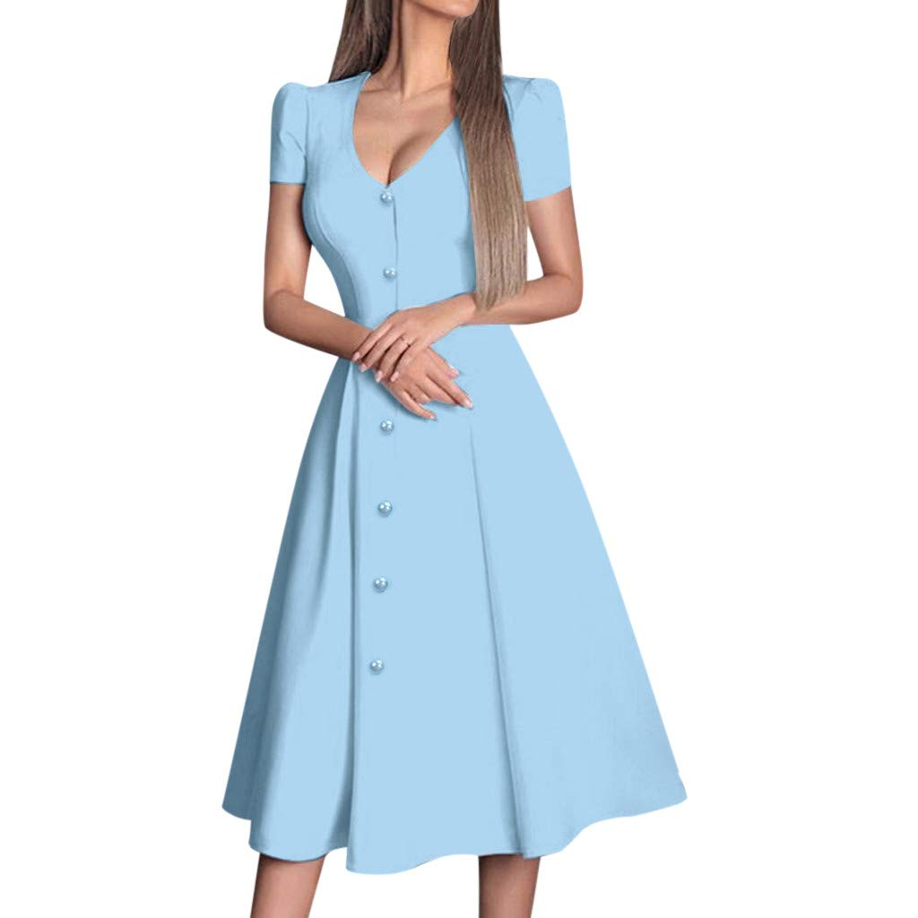 Women Deep V Neck Swing Long Dress Summer Fashion Short Sleeve Button Aline Flowy Solid Maxi Party Club Dresses (Small, Blue)