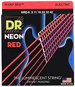 dr strings hi def neon red coated light 9 42 electric guitar strings musical. Black Bedroom Furniture Sets. Home Design Ideas