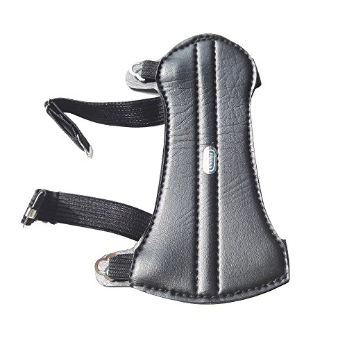 Archery Youth Arm Guard Adjustable Straps Leather Forearm Protector Kids and Youth Leather Armguard Outdoor Hunting Shooting Arm Protector for Recurve Compound Bow
