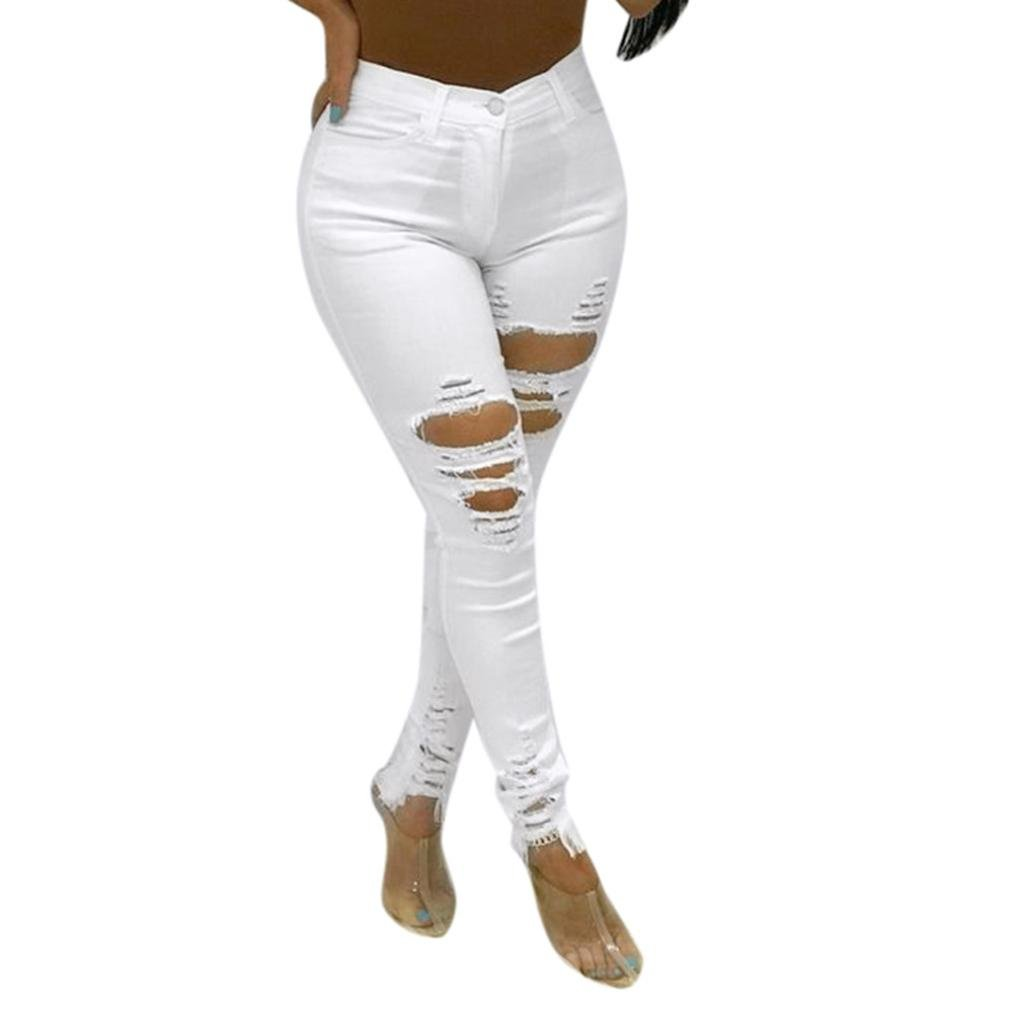 Greatgiftlist Women Long Stretchy Skinny Jeans Distressed Destroyed Denim Casual Fashion Boyfriend Pants (M, White)