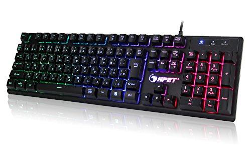 NPET gaming 키보드 LED 백 라이트 7 색방수 usb 26키방 충돌 키보드 2년간 품질 보증 K10 (일본어 배열(106키))
