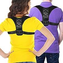 Adjustable Figure 8 Posture Corrector Upper Back & Shoulder Support Brace, Best Posture Brace Back Corrector for Women & Men (Black, Large)