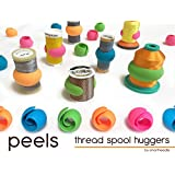 THREAD SPOOL HUGGERS, 'PEELS ...Keep Thread Tails Under Control' (12 Pieces). Prevents Thread Spools From Unwinding While in Storage or on Thread Rack. Fits on Sewing, Quilting and Embroidery thread Spools. By Smartneedle
