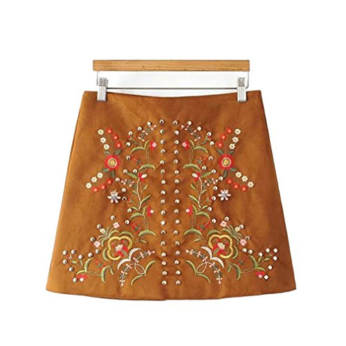 Studded Vintage Skirt (Msdfvry Floral Embroidery Studded Dress Vintage Fake Diamonds Beading Faldas Mini Skirts54 XS)
