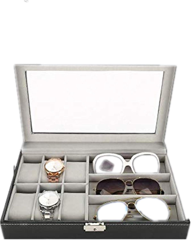 TMISHION Caja de Almacenamiento para Gafas y Relojes de 9 Compartimentos, Caja de Reloj de Cuero para 6 Reloj y 3 Anteojos, para Guardar y Exhibir Gafas/Relojes/Joyas/Anteojos Caja de Almacenamiento