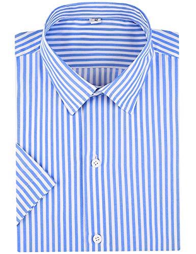 SPAREE Men's Business Short Sleeve Vertical Striped Dress Shirts (Light Blue White, -