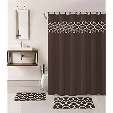 15 Pieces Solid Color with Embroidery Butterfly Design Bathroom Mats Set Non-slip Rug Carpet Shower Curtain and Hooks (Geometric-chocolate)