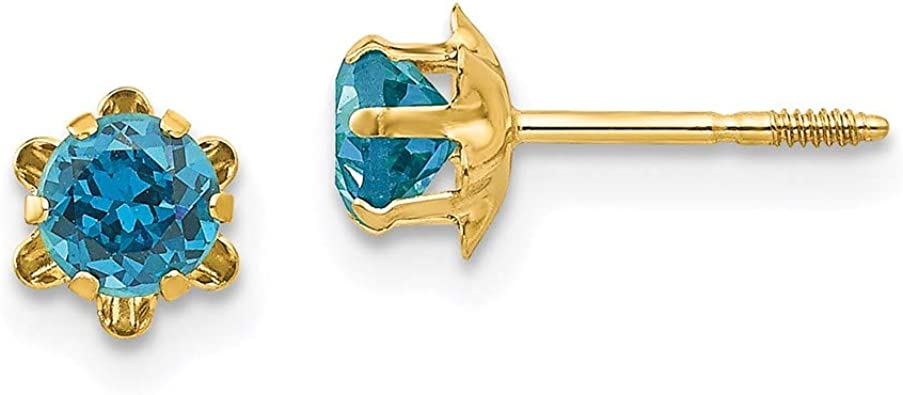 Women Blue-Topaz Birthstones Earrings, 14k Gold Star Studs