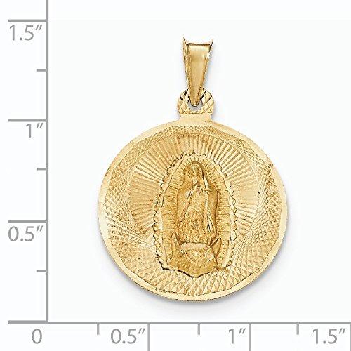 Or poli 14carats et diamant Dame de Guadalupe Pendentif Cercle