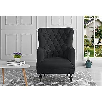 Plush Classic Tufted Linen Fabric Armchair   Living Room Chair (Dark Grey)