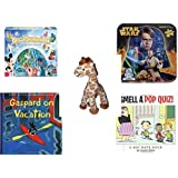 """Children's Gift Bundle - Ages 6-12 [5 Piece] - World of Disney Eye Found It Board Game - Star Wars 2-Sided Puzzle Tin - Small of the Wild Giraffe Plush Toy by Wildlife Artists 6"""" - Gaspard on Vacati"""