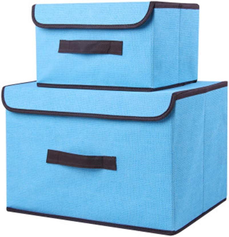 Voker Caja de Almacenaje de Tela, Plegable Set de 2 Cajas de Almacenaje Cubos de Tela Organizador Plegable con Tapa y Ventana de Etiqueta Almacenaje Juguetes, Caja para Ropa (Azul): Amazon.es: Hogar