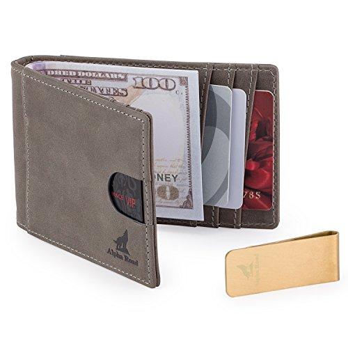 Mens Slim Leather Bifold Wallet: RFID Money Clip Billfold & Credit Card Holder ()
