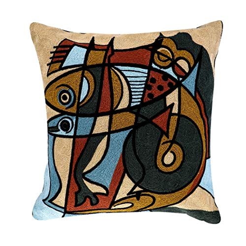 African Pillowcase - Leowoo Abstract Pillowcase Pillow Covers 18x18 Modern Picasso Embroidery African Cushion Covers 18