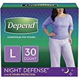 Depend Night Defense Incontinence Underwear for Women, Disposable, Overnight, L, Blush, 30 Count