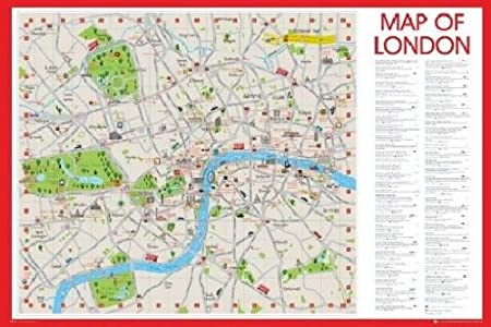 1art1 49541 world map central london map in middle poster 91 x 61 cm