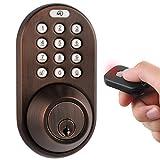 MiLocks XF-02OB Digital Deadbolt Door Lock with Keyless Entry via Remote Control and Keypad Code for Exterior Doors MiLocks