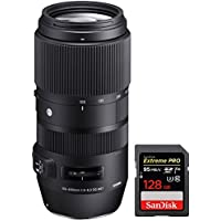 Sigma 100-400mm F5-6.3 DG OS HSM Contemporary Full Frame Telephoto Lens Canon (729-954) with Sandisk Extreme PRO SDXC 128GB UHS-1 Memory Card