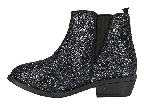 Girls Dressy Boots (bebe Girls Chunky Glitter Ankle Boots Size 1 with Elastic Dress Shoes)