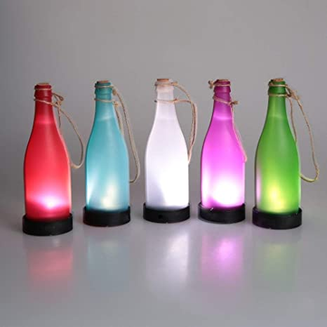 Solar Colgante De Luz para,Plástico con Cuerda De Cáñamo con Botella Lámpara De Luz para Casa Y Jardín Al Aire Libre Fiesta Bar Restaurante Decoración (10 ...