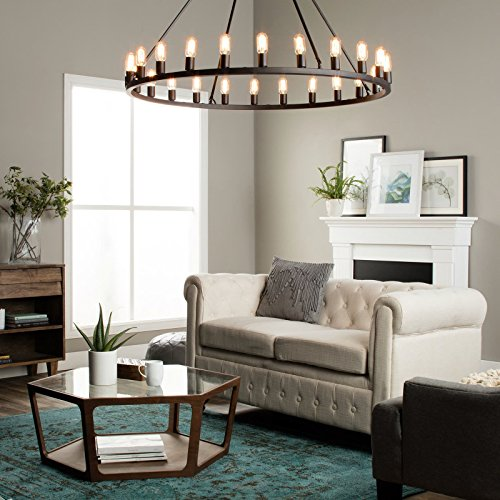 Rustic Chandelier Centerpiece with Bulbs for Modern Farmhouse Lighting | 48