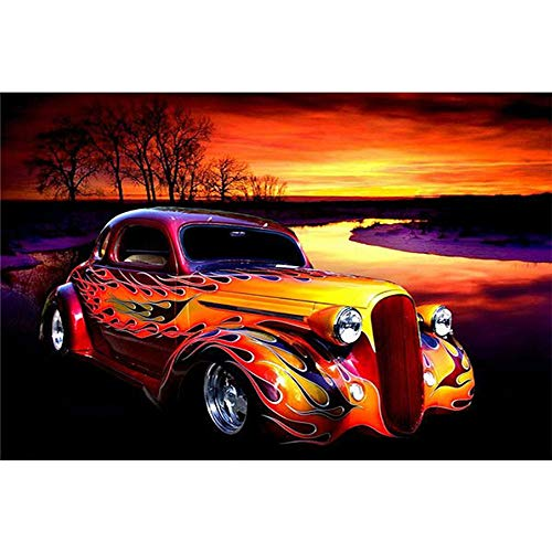 5D Classical Car DIY Diamond Painting Classical Car Paint by Number Kits Full Drill Cross Stitch Craft Kit Wall Stickers for Living Room Decoration (Paintings For Cars)