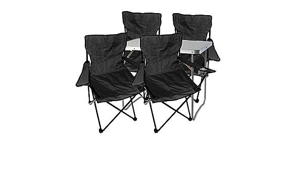 Aluminio 120/x 60/x 58//70/cm, 1/x XXL Mesa de Camping Regulable con asa + 4/Pesca Sillas, Plegable sillas Negro Juego de Muebles de Camping Mojawo  5tlg