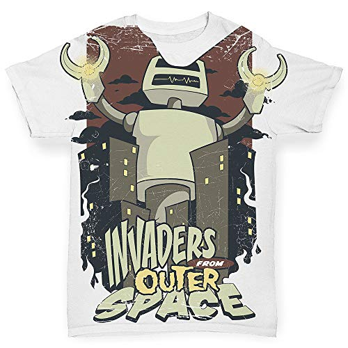 TWISTED ENVY Baby Boy Clothes Invaders from Outer Space White 6-12 Months