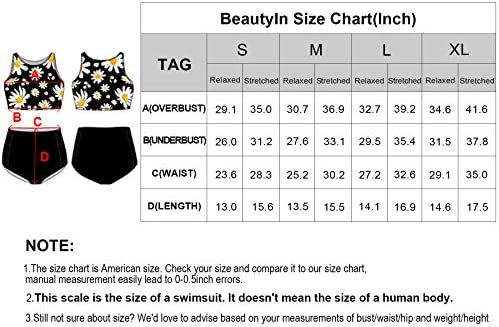 beautyin Womens Floral Print High Waisted Ruched Two Piece Bikini Swimsuits Sets