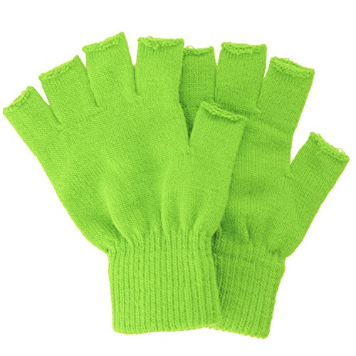 Simplicity Men/Women Half Gloves Solid Color Knitted Winter Warm Gloves, Lime, One Size