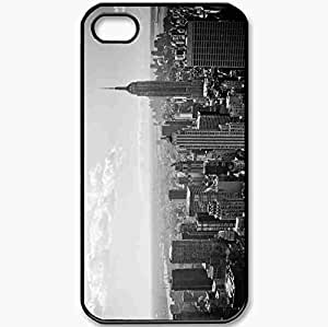 Protective Case Back Cover For iPhone 4 4S Case Black And White New York Nyc Gray New York Black