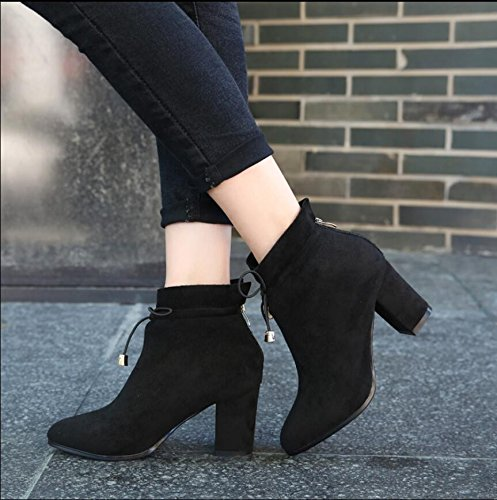Winter New The KHSKX Thick Version Zipper 7 Head The Boots Round Comfort 37 Rear Women With Black Boots Korean Of Satin Strap Boots Martin Heeled 5Cm High P7qX7d