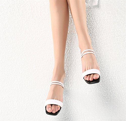 EU39 Low Tacco Casual Spesso Comode Block BIANJESUS Outdoor Donna Unita Pantofole Estate Tinta Donna Scarpe Quadrato Open Toe Sandali Tacco White wI8IXqzRx