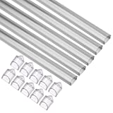 uxcell 5 Packs 3.28 FT/ 1m LED Aluminum Channel System with Transparent Cover, End Caps with for LED Strip Light Installations(CN506-3HB, 1mx14.3mmx6.7mm)