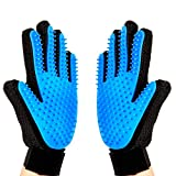 Yvetel Pet Grooming Glove-Gentle Deshedding Brush Glove - Efficient Pet Hair Remover Mitt - Massage Tool with Enhanced Five Finger Design - Perfect for Dogs & Cats with Long & Short Fur (Blue-Pair)