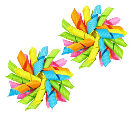 """Price comparison product image HipGirl Boutique 1 Pair 2.5"""" Grosgrain Ribbon Korker Hair Bow Clips (Bright)"""