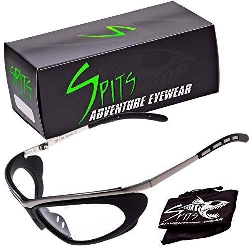 Thunder Metal Wrap Sports Safety Glasses in Silver Frame, Various Lens Color Options (Clear Lenses)