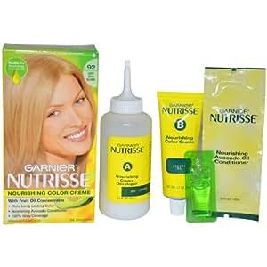 Garnier Nutrisse Nourishing Color Treatment with Fruit Oil Concentrates, Level 3 Permanent, Light Beige Blonde 92