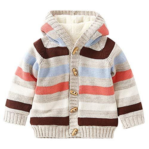 Mud Kingdom Baby Boys Hooded Jacket Fleece Lining Cute Stripe Beige 24 Months