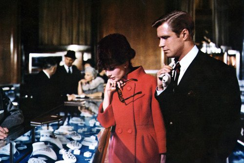 (Audrey Hepburn and George Peppard in Breakfast at Tiffany's looking at jewelry 24x36 Poster)