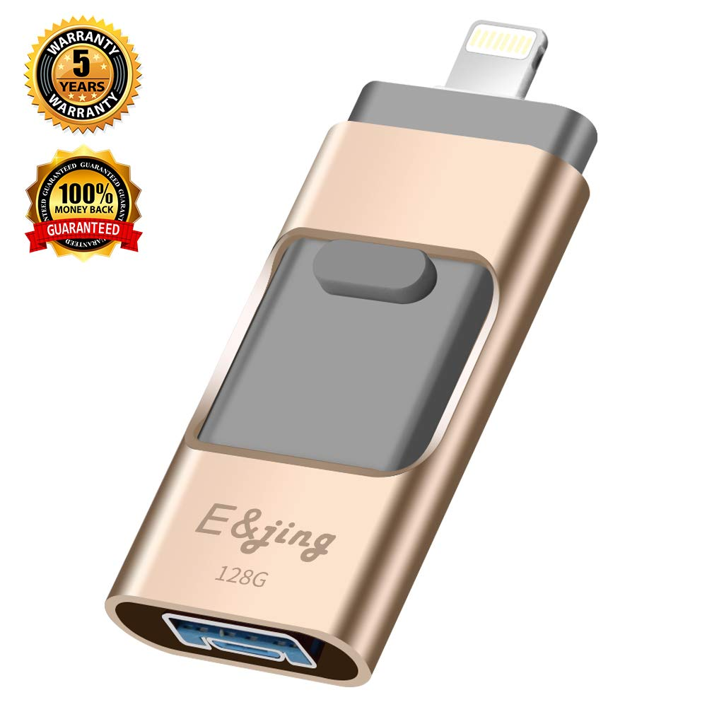 USB Flash Drive for iPhone_ E&jing iPhone Flash Drive 128GB iPhone External Storage USB 3.0 photostick Mobile for iPhone,Android,PC Photo iPhone Picture Stick(Gold)