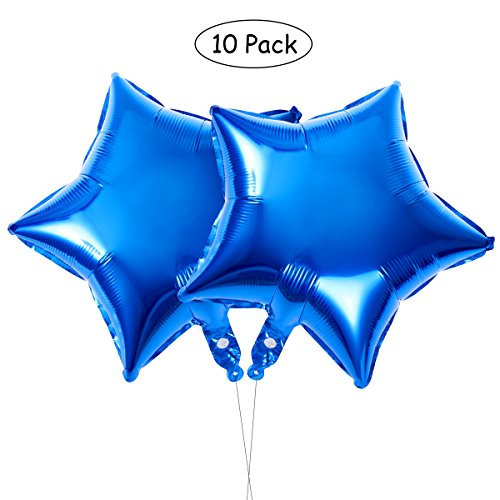 TOYMYTOY Blue Star Foil Balloons | 10pcs 18 Inch Five-Point Mylar Birthday Party - Foil Blue Star