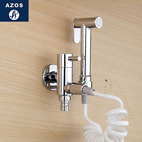 Azos Bidet Faucet Pressurized Sprinkler Head Brass Chrome Cold Water Two Function Washing Machine Pet Bath Balcony Round PJPQ005AC by AZOS