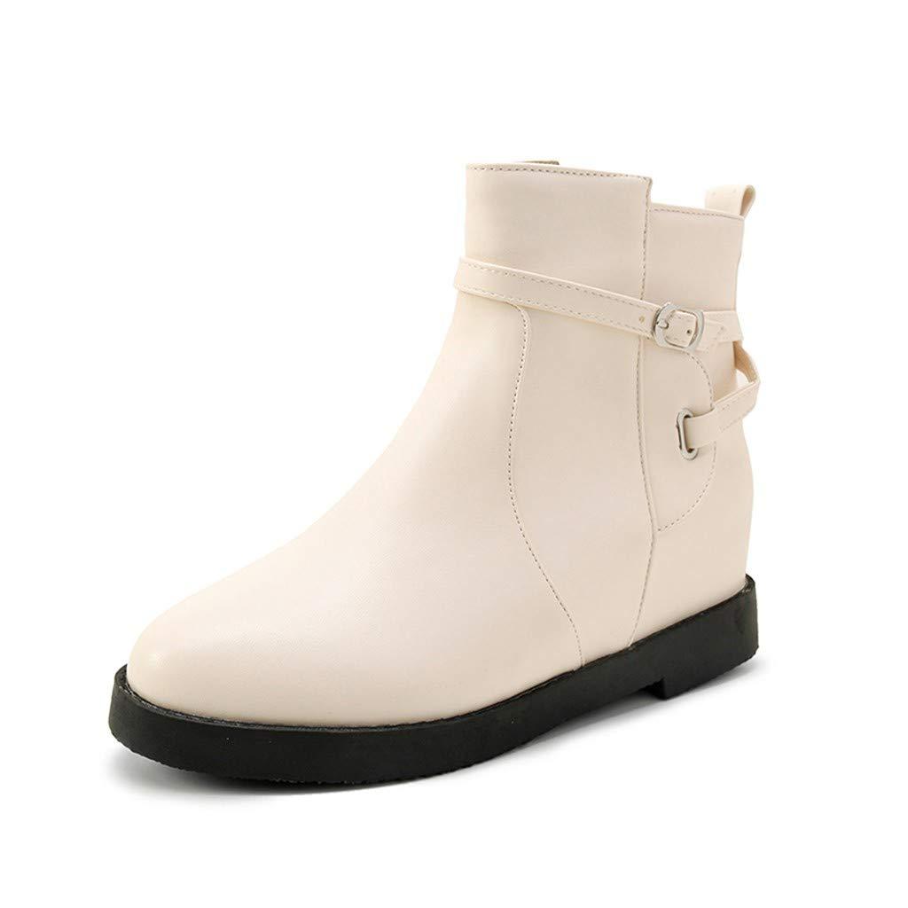 Bottes à la Cheville épaisses avec Fermeture à glissière épaisse à la Mode pour Femmes Chaussures à Bout Rond