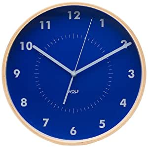 "Amazon.com: WOLF 334105 12"" round Wall Clock, Blue: Watches"
