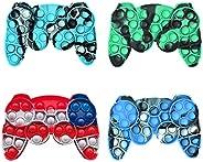 Pop It Fidget Toys Controller Gamepad Shape ,4Pcs Stress Relief Hand Toys Tie Dye Push Bubble Silicone Squeeze