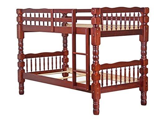 """100% Solid Wood Dakota Twin/Twin Bunk Bed, Mahogany, 61""""h x 44""""w x 82.5""""l, 4"""
